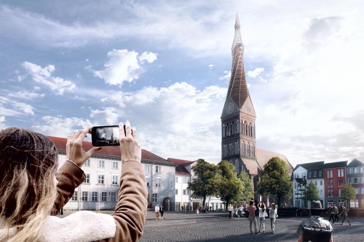 Entwurfsstudie zur Ansicht künftigen Nachtansicht von Norden ©heneghan peng architects (hparc.com) (jpg 7,8 MB)